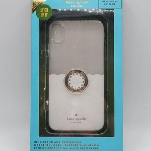 Iphone XR White Glitter Clear Case With Ring Stand